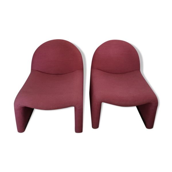 Paire de fauteuils vintage en tissu Atal datant des années 70