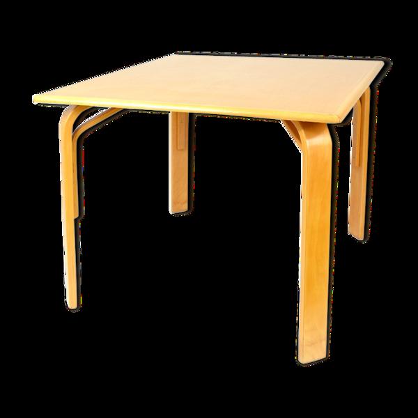 Selency Table carrée en bois années 80