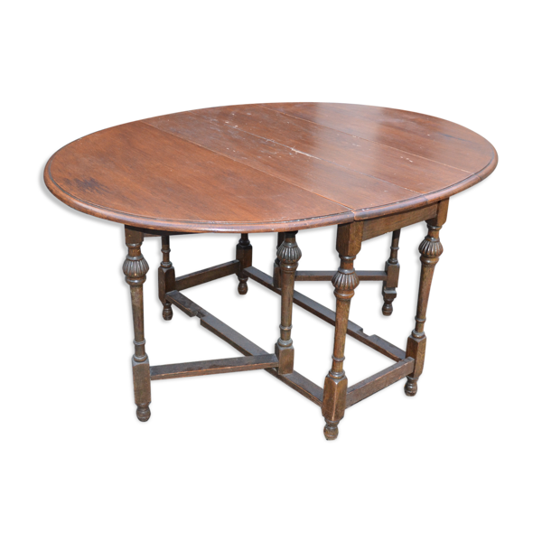 Table anglaise ovale en chêne pliante dite gateleg