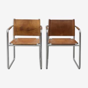 Paire de fauteuils modèle amiral en chrome et cuir par Karin Mobring pour Ikea, Suède, 1970s
