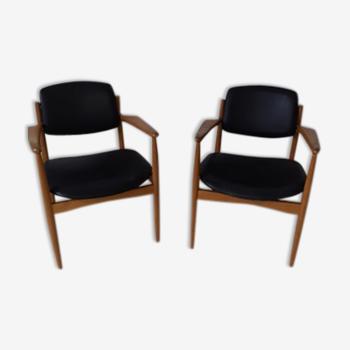 Paire de fauteuils Arne Vooder scandinaves en skaÏ
