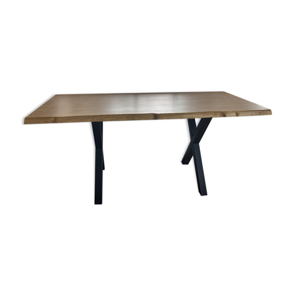 Selency Table artisanale style industriel en bois massif