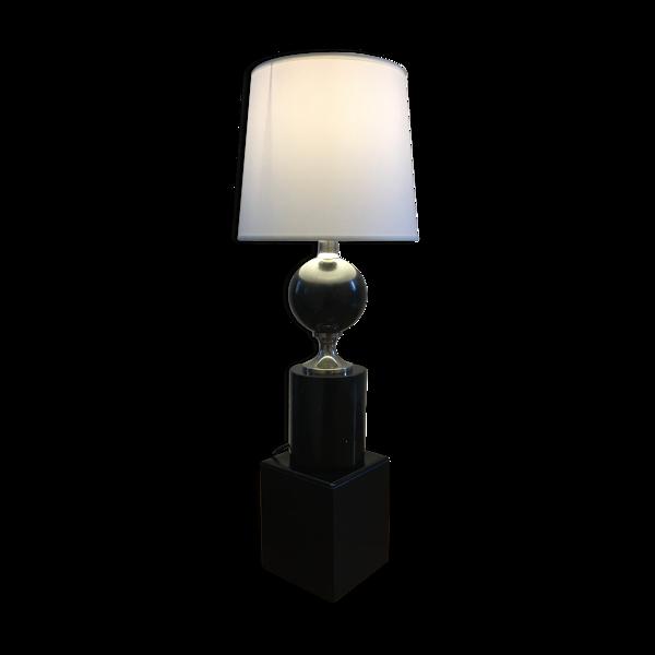 Lampe à poser en marbre noir et métal chromé Philippe Barbier