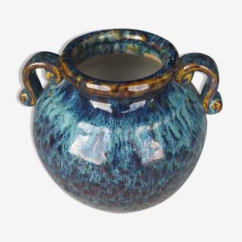 Vase en céramique émaillée nuances de bleu