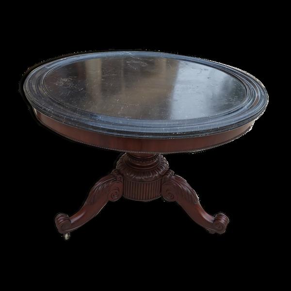 Table d'appoint en acajou et marbre XIX eme