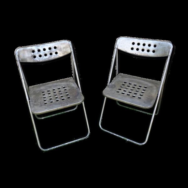 Paire de chaises en métal, années 70