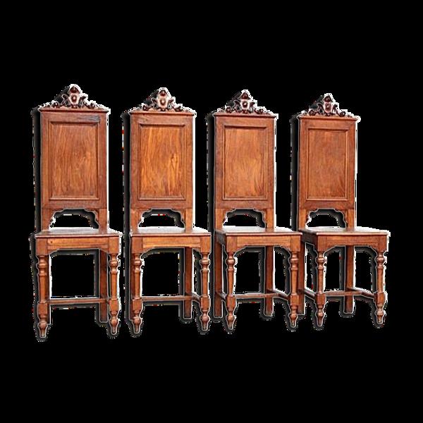 Selency Série de 4 chaises style renaissance noyer