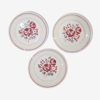 Set of 3 plates hbcm model roses