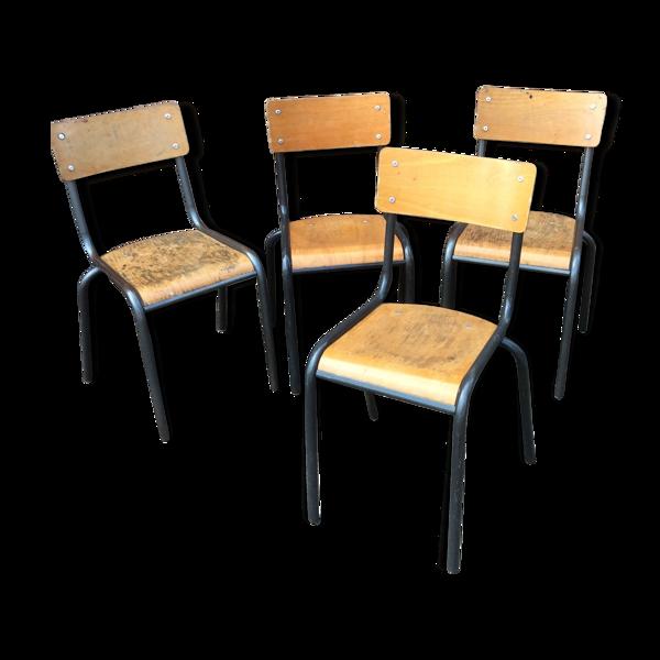 Set de 4 chaises industrielles école vintage collectivités Mullca Delagrave tube & bois