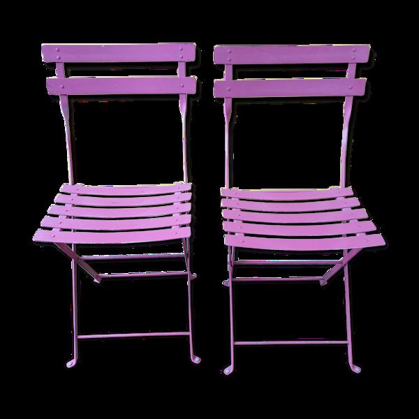 Paire de chaises pliantes vintage métal années 60