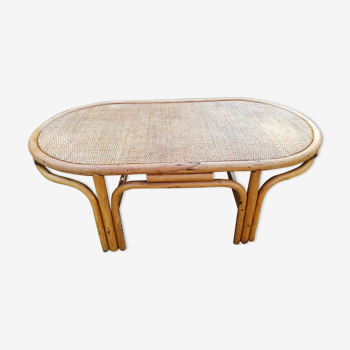Table basse en rotin ovale vintage