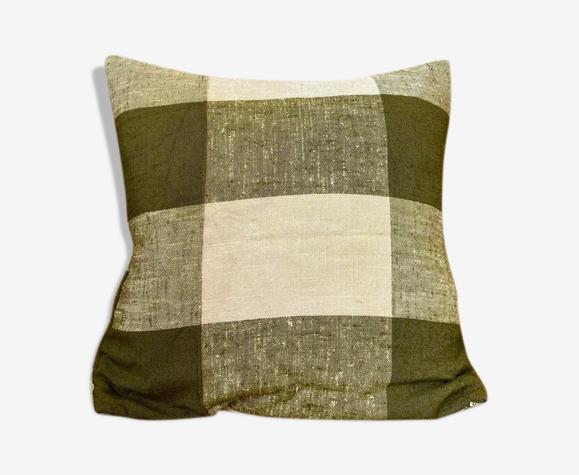 Coussin en coton vert et beige 40 cm