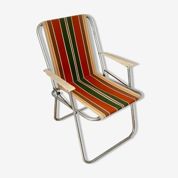 Chaise camping vintage pliable