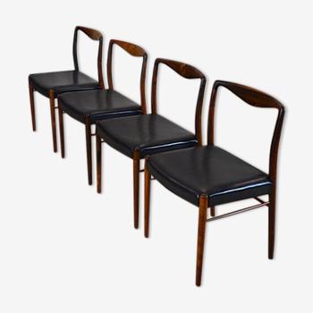 4 chaises danoise en palissandre de Rio Kai Lyngfeldt Larsen 1960
