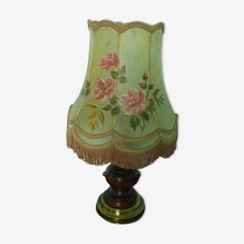 Lampe à poser avec abat-jour pagode en peau et décors peints main, vintage, années 30/40