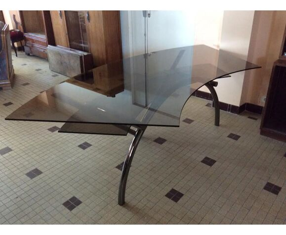 Bureau en verre et acier