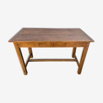 Table bureau de ferme en chêne massif avec 1 tiroir