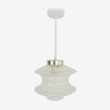 Suspension vintage en verre bullé Raak Amsterdam design année 60