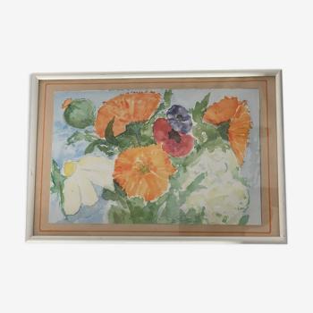 Tableau à décor floral
