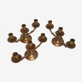 Lot de 3 chandeliers triples bougeoirs de table en laiton