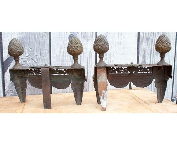 Vieille paire de decor cheminée en laiton