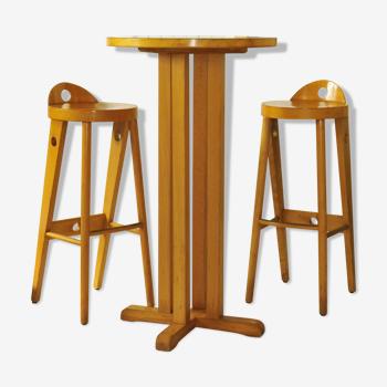Ensemble Baumann table haute Bistrot mange debout avec ses deux tabourets