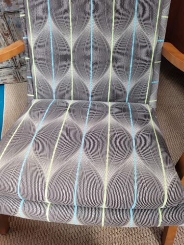 70s armchair in beech and period fabric