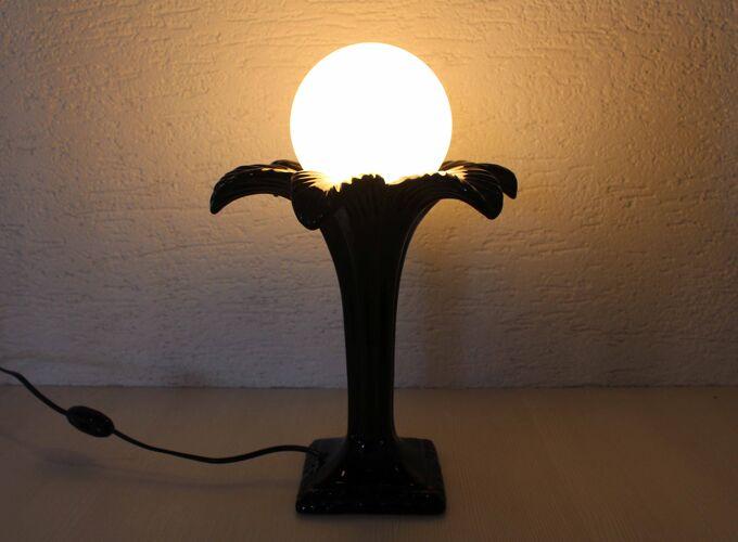 """Lampe """"palmier"""" en faïence et verre opalin"""