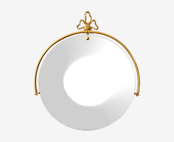 Miroir rond vintage en laiton et noeud doré 74x66