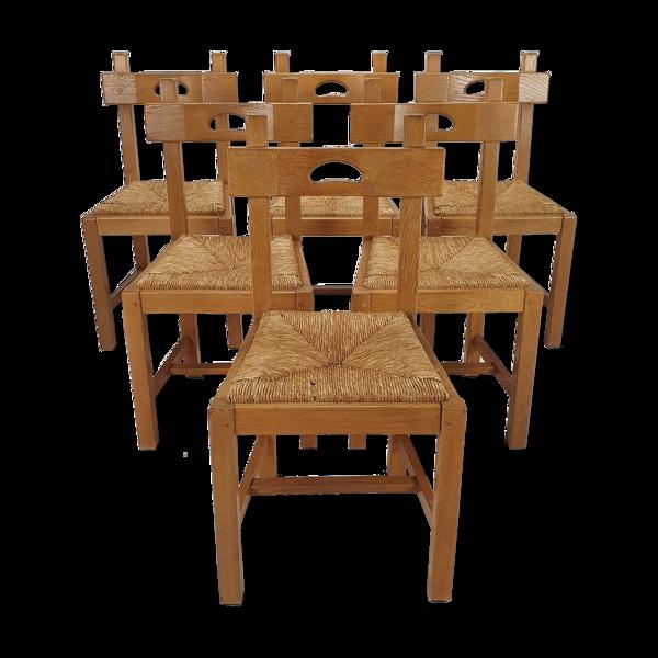 Selency Lot de 6 chaises à mange, années 1950