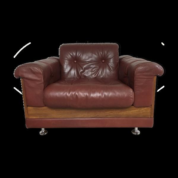 Fauteuil cuir design, années 60