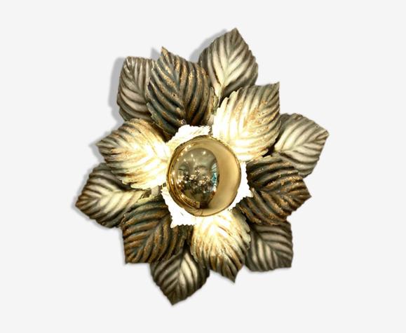 Applique fleur feuilles vert et or