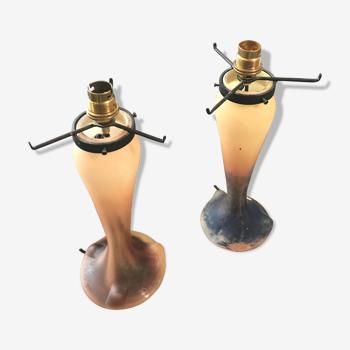 Paire de pieds de lampe pâte de verre