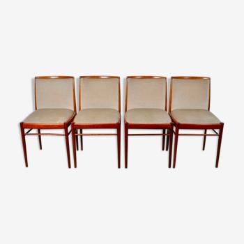 Set de 4 chaises de salle à manger en velours et noyer de Benze Sitzmöbel 1960