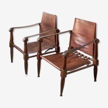 Paire de fauteuils Safari années 1930