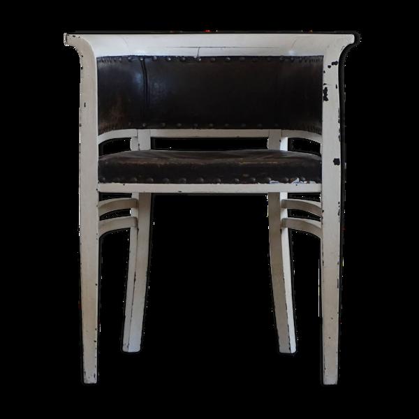 Fauteuil vintage peint en blanc avec cuir, début du 20ème siècle