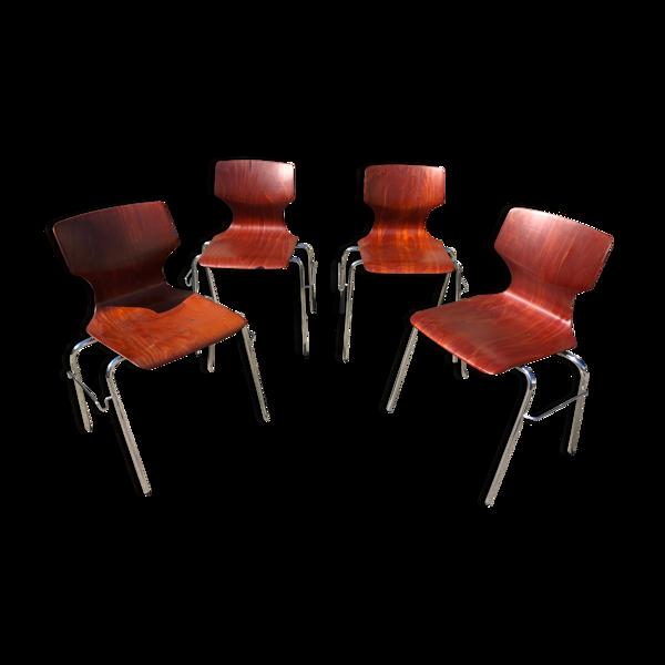 Set de 4 chaises Flottoto années 60