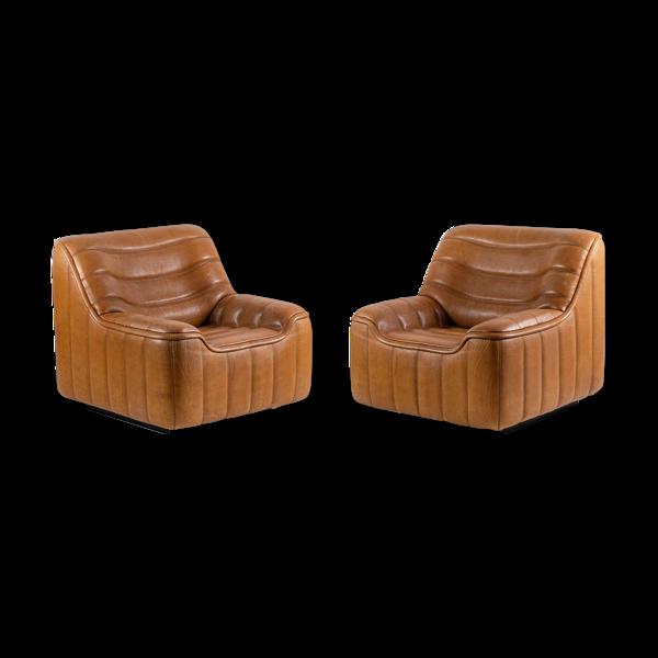 Selency Paire de fauteuils en cuir marron, années 1970