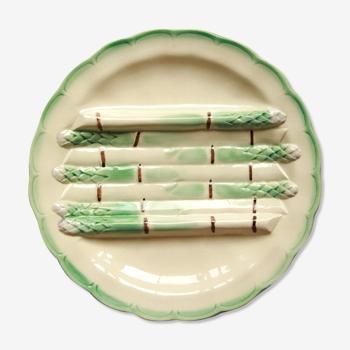 Assiette asperge terre de fer longchamp barbotine