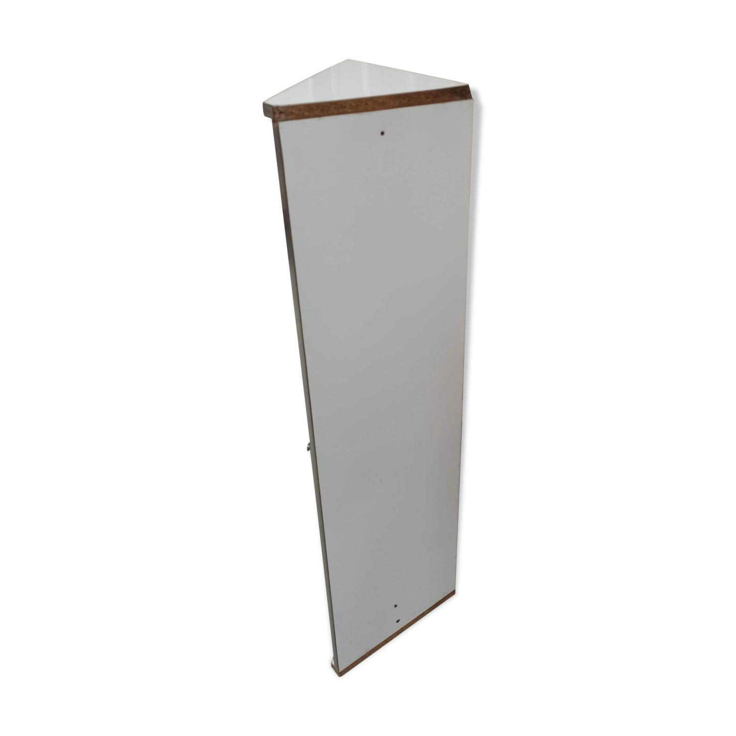 Encoignure blanche miroir étagère placard rangement