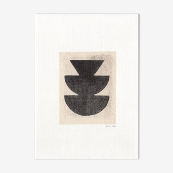 Peinture sur papier, illustration abstraite M253 signée Eawy