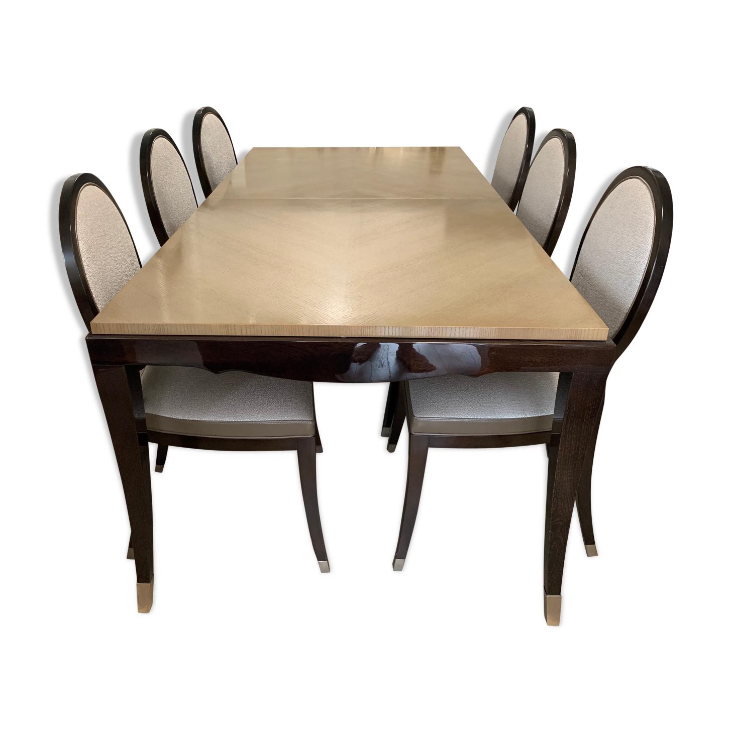 Table Roche Bobois et 6 chaises grand hôtel collection Nouveaux Classiques