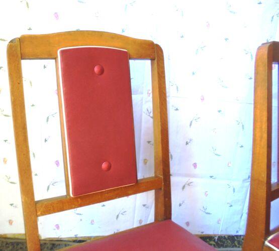 Lot de 5 chaises bois et skaï rouge