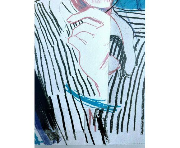 Lithographie offset vintage, Picasso style vogue, David Hockney 1985