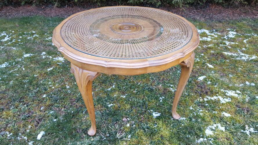 Table basse style anglais bois et cannage