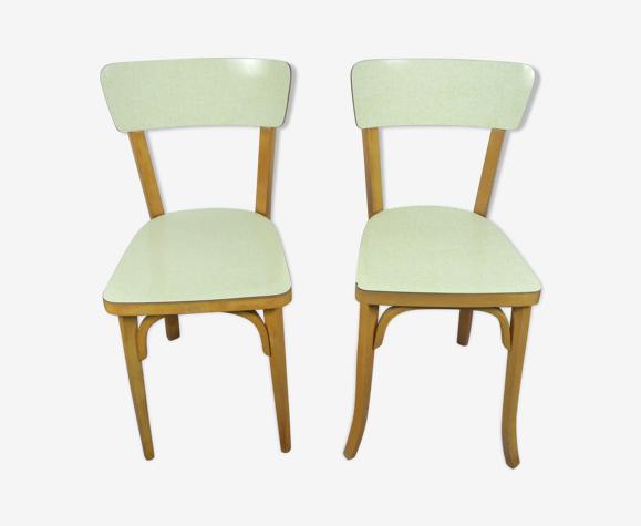 Lot 2 chaise bistrot baumann bois et formica