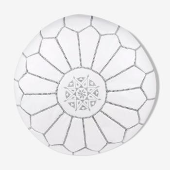 Grey white leather ottoman 35 CM x 55 CM