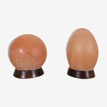 Lampes boule et œuf en pierre de sel rose vintage