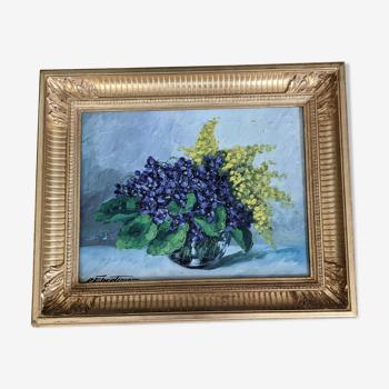 Peinture cadre doré et toile
