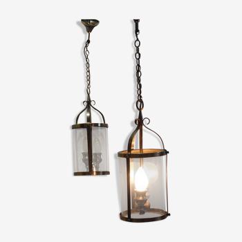 Paire de lanternes vintage suspension laiton